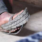 recycled tyre flip flops!