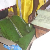 Wrapping in banana leaves