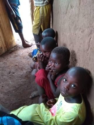 Some of her children inside the shelter