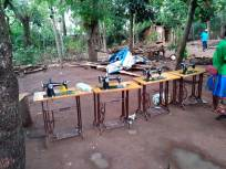 sewing machines waiting to be delivered to Women's Groups